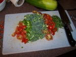 Broccoli, Tomatoes, a Pepper and some Basil from the garden.